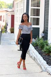 skirt,bodycon skirt,longline midi skirt,gingham top,bardot top,sandals,clutch,blogger,blogger style,off the shoulder top