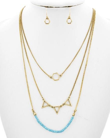 Boho chic layered simple necklace turquoise and pyramids tryangles