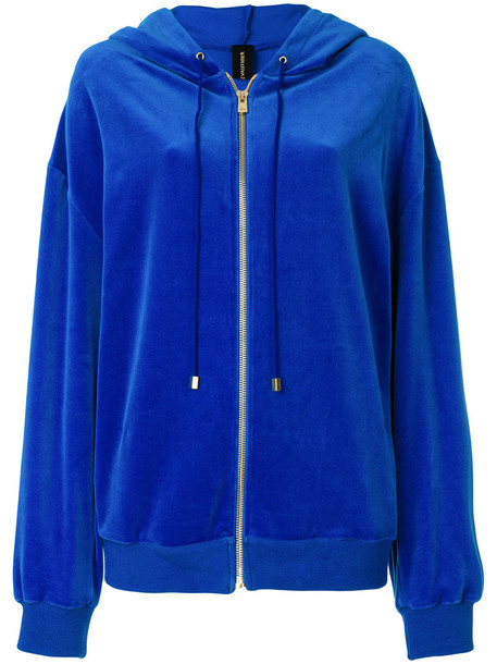 hoodie embroidered zip women cotton blue sweater