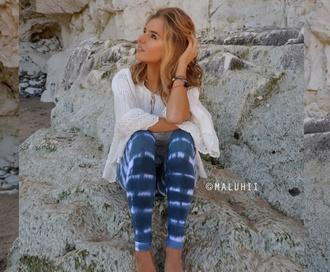 pants yoga pants tie dye tie dye leggings tie dye yoga pants tiedye pants colorful boho cute blue and white tiedye