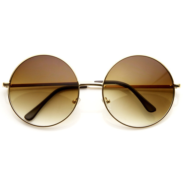 Oversize vintage inspired oversize metal round circle sunglasses