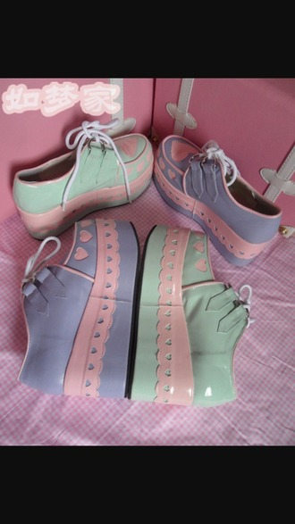 shoes purple mint pink white