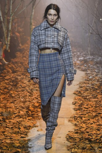 skirt fall outfits jacket plaid cropped bella hadid model runway paris fashion week 2017 fashion week 2017 boots off-white brand