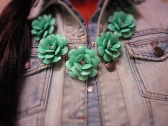 denim jewels aliexpress jcrew mint flowers necklace statement necklace rhinestones denim on denim most wanted