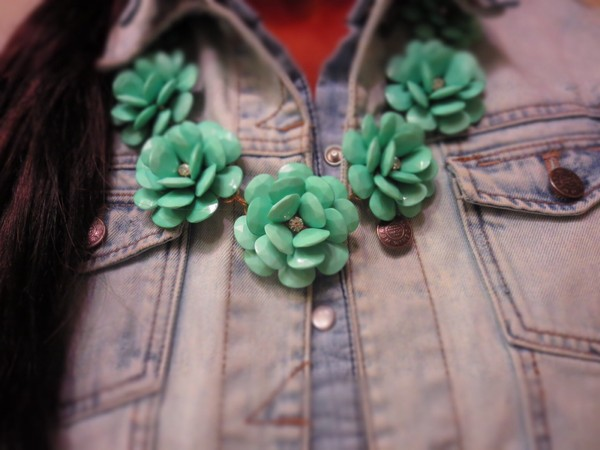 jewels aliexpress j crew mint flowers necklace statement necklace rhinestones denim on denim denim