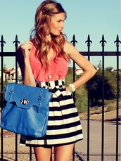 skirt,coral,top,tank top,coral top,orange,red,pink,stripes,striped skirt,high waisted skirt,tumblr,tumblr fashion,tumbrl outfits,summer,spring,outfit,cute,hot,love,black and white,black white skirt,dark bue,blue purse,blue bag,blue,handbag,black and white skirt,blouse,bag,jewels,pink blouse,blue leather bag,black,skater,party,summer outfits,streetstyle,satchel bag,dress,earphones