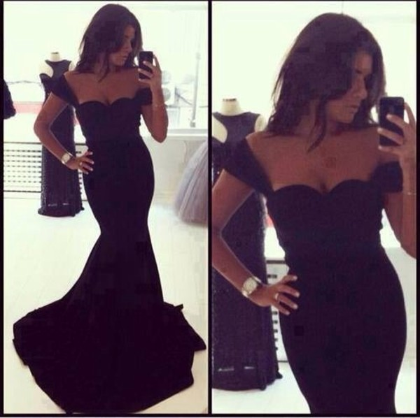 dress black dress prom dress sexy dress gown halter dress party dress fishtail dress evening dress maxi dress gorgeous long tight sleeves evening dress black off shoulder prom dresses mermaid prom dress black prom dress simple prom dresses long prom dress