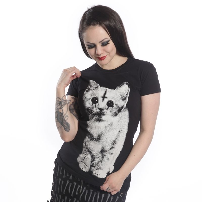 "POIZEN INDUSTRIES ""DARK KITTEN"" SKINNY T SHIRT 