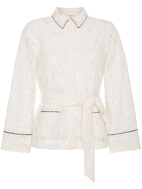 Ganni shirt women lace white cotton top
