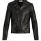 Stud-embellished leather biker jacket