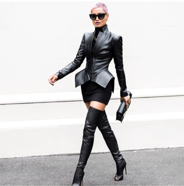 jacket dress black thigh high all black everything leather jacket high heels boots heels sunglasses style skirt fashion black dress peep toe boots over the knee boots shoes