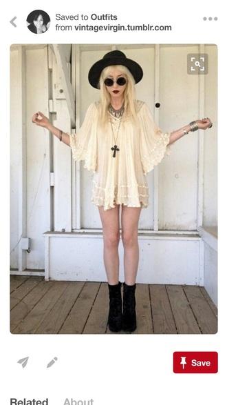 dress chill cream boho dress grunge