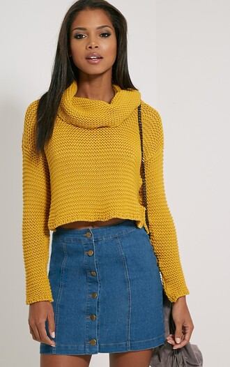 sweater mustard jumper wool knit knitwear atumn fall outfits aw15 turtleneck sweater cropped sweater mustard sweater