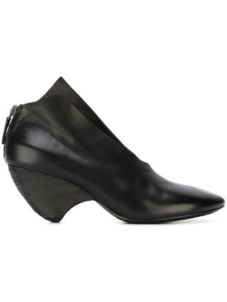 heel women pumps leather black shoes