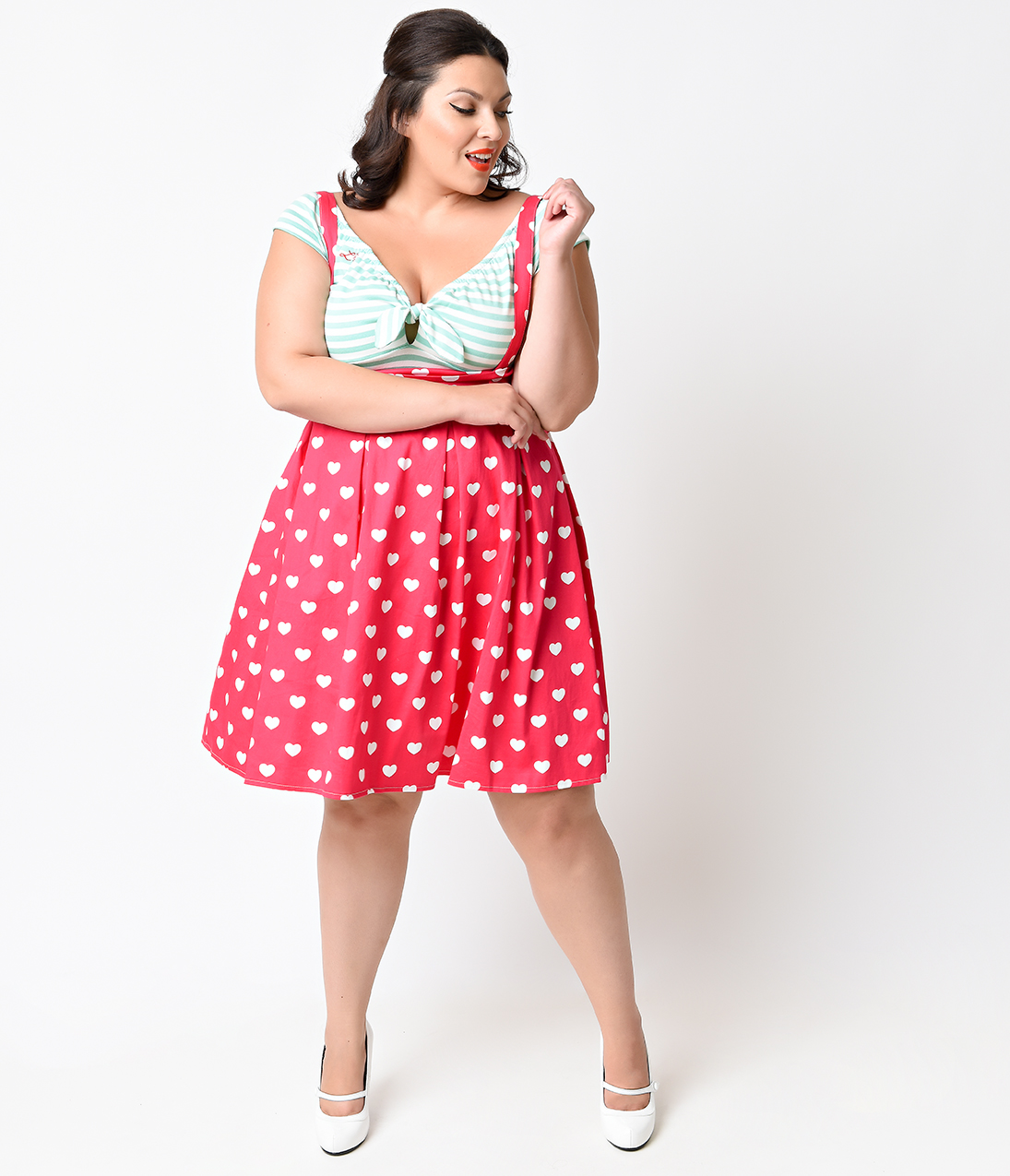 0576a055166 Iconic by UV Plus Size Pink   White Hearts Jitterbug Suspender Skirt