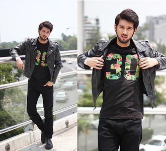 bobby raffin blogger t-shirt pants jacket
