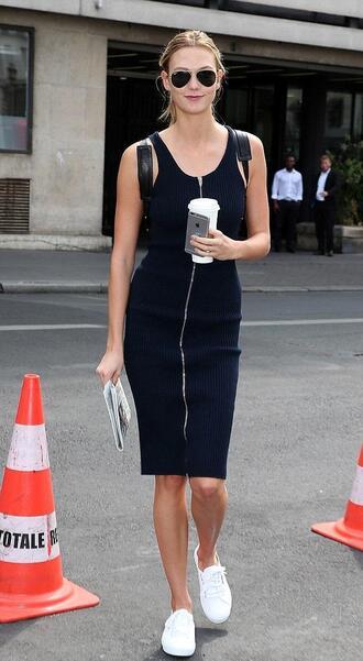 dress karlie kloss midi dress zip dress summer dress model off-duty