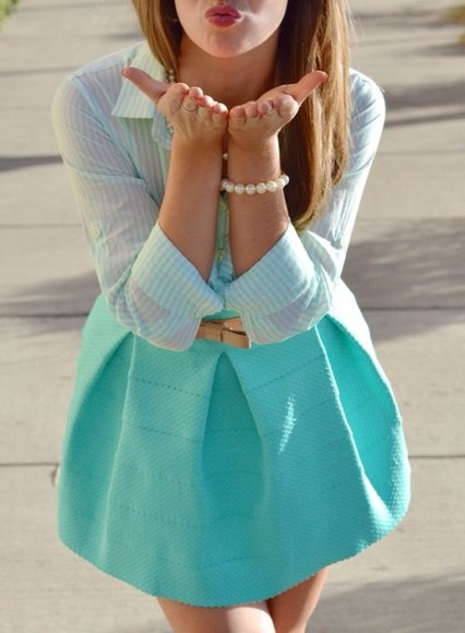cute pastel mint turquoise skirt pleated skirt mint skirt prep pearls collared button up blouse button up shirt bow gingham