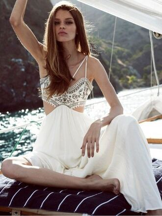 dress free vibrationz white white maxi dress the jetset diaries prom dress white prom dress white and gold summer dress cut-out dress coachella festival prom scrappy dress boat dress party dress strappy dress