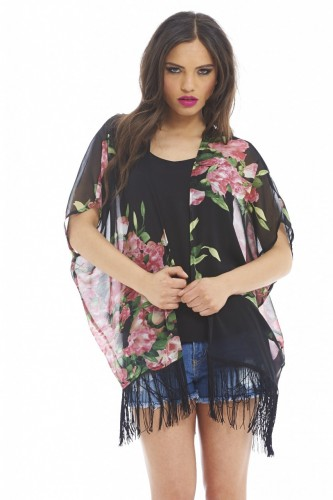 Black Short Sleeve Top - Floral Tassel Kimono | UsTrendy