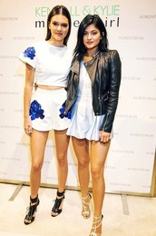 romper,shorts,top,jacket,kendall and kylie jenner,kendall jenner,kylie jenner,sandals,shoes,white