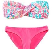 swimwear,bikini,pink,lily pulitzer,bandeau swimsuit,style,summer
