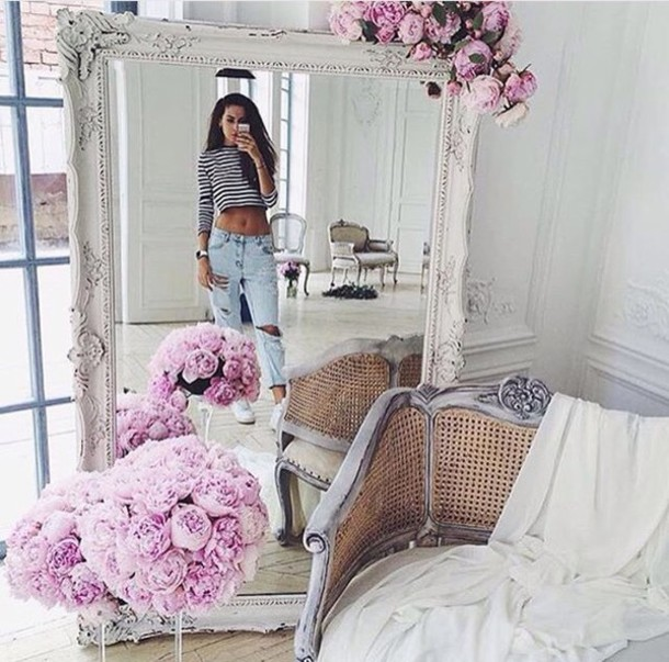 Home Accessory White Mirror Flowers Tumblr Decor