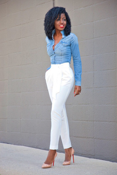 Shirt: blogger, denim shirt, white pants - Wheretoget