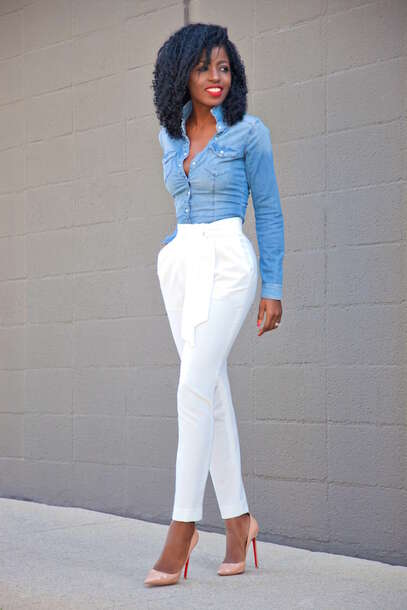 Blogger shirt denim shirt white pants wheretoget for White pants denim shirt