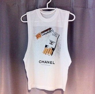 tank top chanel t-shirt cigarettes chanel top