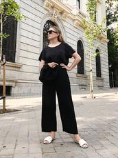 sunglasses,top,black top,pants,black pants,shoes,white mules
