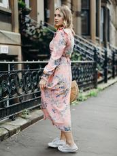 dress,tumblr,pink dress,midi dress,long sleeves,long sleeve dress,sneakers,white sneakers,converse,shoes
