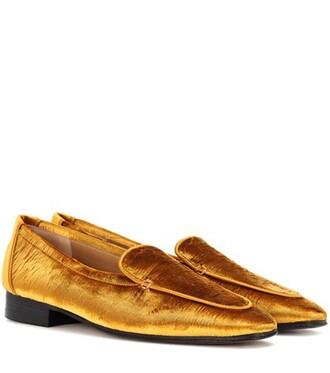 loafers velvet gold shoes