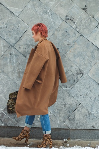 coat tumblr camel camel coat denim jeans blue jeans cuffed jeans boots ankle boots high heels boots animal print leopard print red hair short hair androgynous