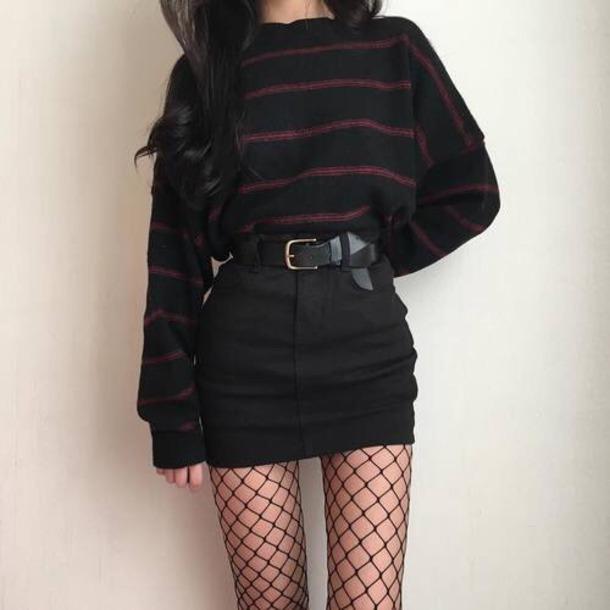 Skirt black white red korean fashion ulzzang fashion blouse stripes edgy mesh - Wheretoget