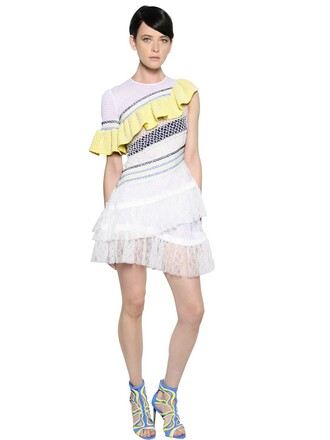 dress chiffon dress chiffon embroidered lace white yellow
