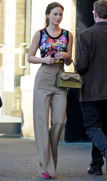 gossip girl blair waldorf leighton meester blouse floral colorful