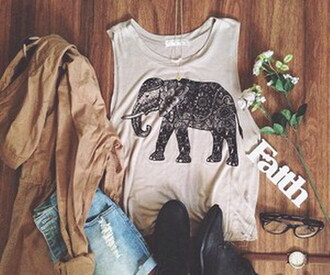tank top elephant top indie indian summer