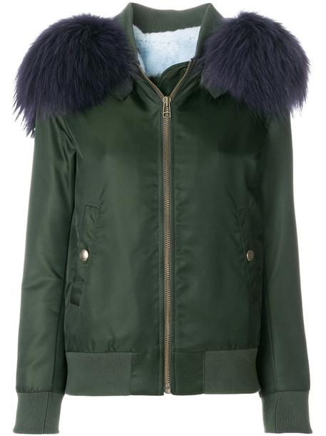 jacket fur women dog cotton green