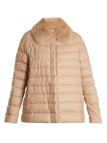 Moncler Gamme Rouge jacket fur quilted camel