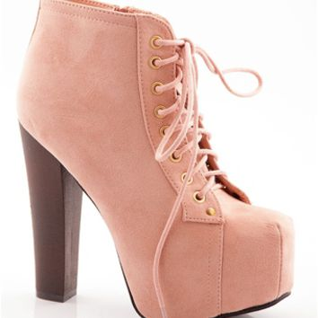 Shoe Deja Vu Faux Suede Lace Up High Heel Booties - Nude on Wanelo