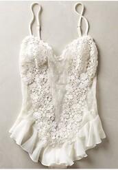 jumpsuit,lingerie,white lingerie,lace,bridal lingerie,mesh bodysuit
