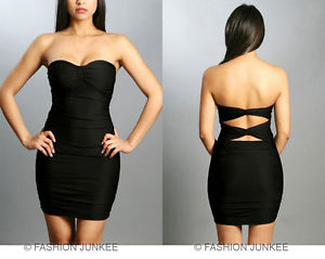 Black Bow Dress Strapless Mini Ruched Backless Open Back Clubwear Sexy New S | eBay