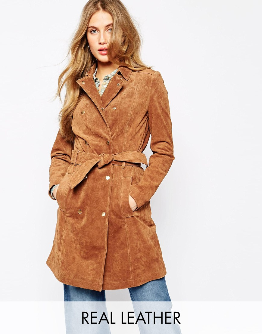 Suede Belted Trench Coat at asos.com