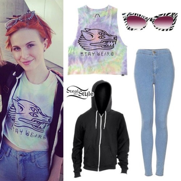 shirt blue tye dye jeans black cute hayley williams stay weird zebra blue jeans