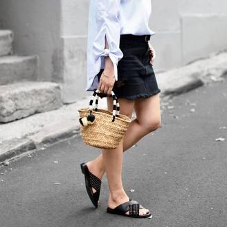 skirt tumblr mini skirt black skirt frayed denim skirt frayed denim shirt white shirt bag basket bag shoes black shoes slide shoes