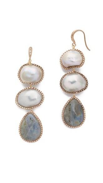 earrings gold grey jewels