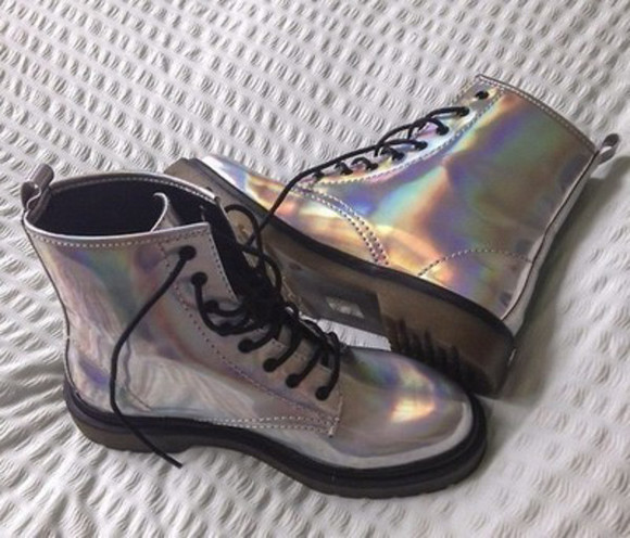 boots DrMartens holographic shoes