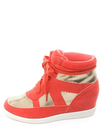 shoes coral gold sneakers