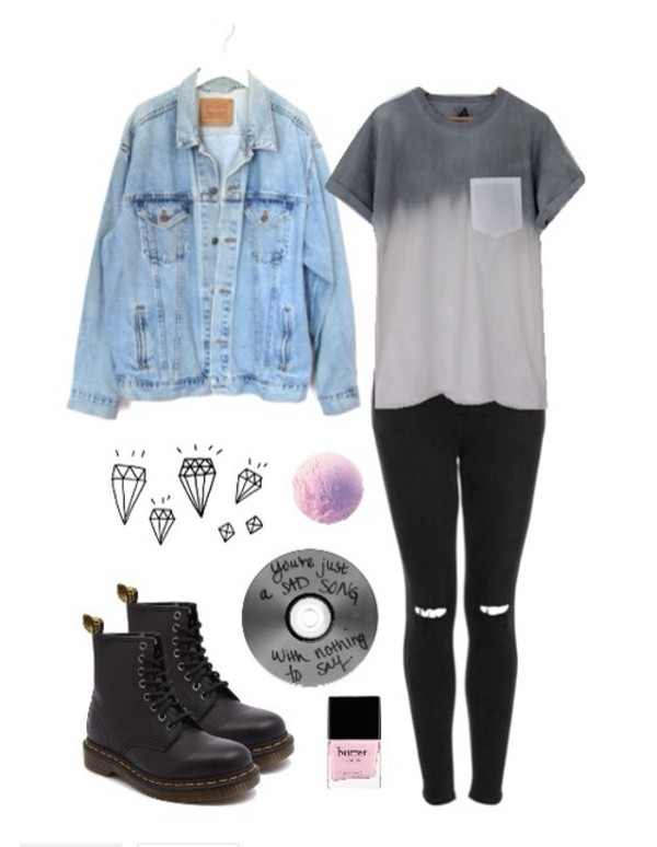 shirt grunge jacket jeans